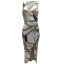 Women's V-Neck Sleeveless Tribal Printed Belt Waist Asymmetric Hem Dress