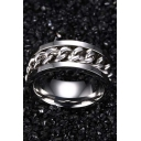Unisex Fashion Chain Pattern Insert Titanium Steel Ring