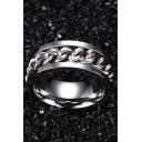Unisex Fashion Chain Pattern Insert Titanium Steel Ring
