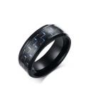 Unisex Carbon Fiber Material Stainless Steel Ring