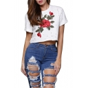 New Arrival Floral Embroidered Cut Out Round Neck Short Sleeve Cropped T-Shirt