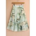 Elastic Waist Floral Printed Chiffon Midi A-Line Skirt