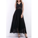 Elegant V-Neck Sleeveless Crisscross Lace Patchwork Back Plain Maxi Dress
