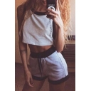 Leisure Letter Printed Sleeveless Contrast Trim Cropped Top with Drawstring Waist Shorts