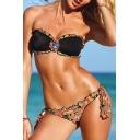 New Arrival Printed Bandeau Top String Bottom Bikini Swimwear