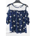 Summer's Cold Shoulder Short Sleeve Floral Printed Sheer Mesh Patched Pullover T-Shirt