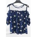 Summer's Cold Shoulder Short Sleeve Floral Printed Sheer Mesh Patched Pullover T-Shirt