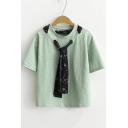 Floral Print Tie Round Neck Short Sleeve Pullover Leisure T-Shirt