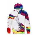 Tie Dye Horse Printed Loose Leisure Long Sleeve Oversize Hoodie