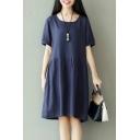 Leisure Women's Short Sleeve Round Neck Plain Midi T-Shirt Dress