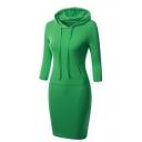 Hot Sale Fashion Hooded Long Sleeve Plain/Striped Midi Sweatshirt Pencil Dress