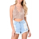 Sexy Lace-Up Front Sleeveless Plain Cropped Knitted Tank