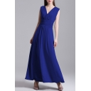 Elegant V-Neck Sleeveless Ruched Front Plain Maxi A-Line Party Dress