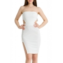New Arrival Plain Sexy Bandeau Cut Out Waist Split Side Mini Bodycon Dress