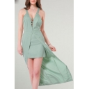 New Fashion Plunge Neck Crisscross Open Back Plain High Low Dress