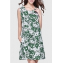 Round Neck Sleeveless Floral Pattern Gathered Waist Leisure Linen Tank Dress