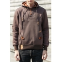 New Collection Long Sleeve Buttons Fly Collar Plain Hoodie with Pockets
