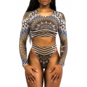 Tribal Printed Round Neck Long Sleeve Cropped Top High Waist Bottom Swimwear