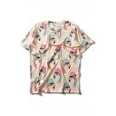 Cartoon Flamingo Printed Round Neck Short Sleeve Pullover Graphic Tee