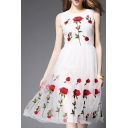 Elegant Lace Mesh Patched Round Neck Sleeveless Floral Print A-Line Midi Dress