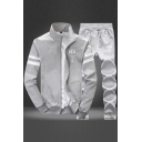 Letter Printed Long Sleeve Zip Placket Coat with Drawstring Waist Sports Pants