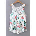 Floral Printed Scoop Neck Lace Back Leisure High Low Summer's Tank Tee