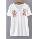 Lace-Up Front V Neck Short Sleeve Floral Printed Pullover T-Shirt
