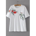 Floral Embroidered Round Neck Short Sleeve Pullover Loose Casual T-Shirt