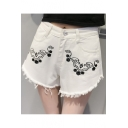 Floral Embroidered Summer's Fringe Hem Leisure Denim Shorts