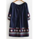 Tribal Printed Round Neck 3/4 Sleeve Leisure Mini Shift Dress