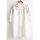 Fresh Floral Embroidered Half Sleeve Loose Leisure Tunic Shirt