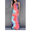 New Fashion Tie Dye Crisscross Open Back Maxi Evening Dress Slip Dress