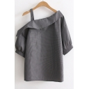 New Arrival One Shoulder Short Sleeve Plaids Printed Casual Loose Pullover Blouse