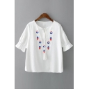 Diamond Printed Round Neck Short Sleeve Tie Front Leisure Loose Pullover Blouse