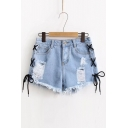New Fashion Lace-Up Side Ripped Summer's Hot Pants Denim Shorts