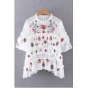 Sheer Multi-Layered Ruffle Embroidery Floral Half Sleeve Round Neck Blouse
