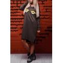 Cute Cartoon Appliqued Long Sleeve Round Neck High Low Hem Asymmetric Sweatshirt Dress