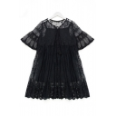 Women's Two Pieces Short Sleeve V-Neck Plain Lace Mini Dress with Cami Inside