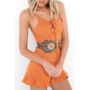 New Fashion Spaghetti Straps Floral Embroidered Fitted Chic Rompers