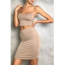 New Fashion Sexy Plain Cropped Cami Top with Mini Bodycon Skirt