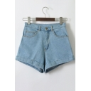 Fashion Simple High Waist Turn Up Plain Denim Shorts