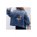 New Arrival Flamingo Letter Embroidered Back Lapel Collar Long Sleeve Denim Jacket