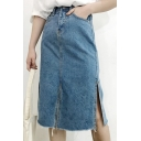 Women's Split Hem Fringe Midi Denim Skirt with Pockets