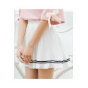 Summer's Elastic Waist Contrast Striped Printed A-Line Mini Pleated Skirt