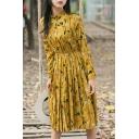 Floral Printed Elastic Waist Stand Up Collar Long Sleeve Buttons Down Midi Dress