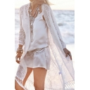 Women's Fashion Tassel Open Front Long Sleeve Plain Tunic Top