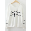 Lovely Cartoon Cat Printed Round Neck Long Sleeve Leisure Pullover Sweatshirt