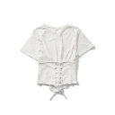 New Arrival Chic Lace-Up Front Round Neck Short Sleeve Plain T-Shirt