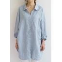 Oversize Loose Lapel Collar Long Sleeve Plain Leisure Tunic Shirt