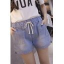 Elastic Drawstring Waist Oversize Loose Denim Shorts with Pockets